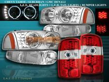 00-06 GMC DENALI XL YUKON HEADLIGHTS HALO LED+BUMPER CHROME +RED TAIL LIGHTS LED