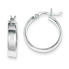 Sterling Silver Rhodium Plated 4.25mm x 20mm Flat Hollow Hinged Hoop Earrings