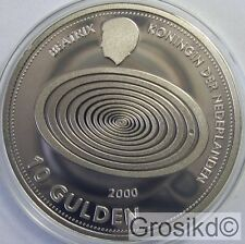 NETHERLANDS 10 GUILDERS MILLENNIUM SILVER RARE WITH COA