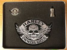 Harley-Davidson H.O.G. Gift Set Metal Tin with Skull Patch, Ride Bell and Pin