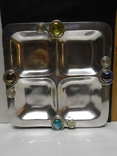 Metal tray divided by four with adornments of glass beads and wire