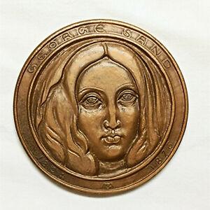 Médaille Monnaie de Paris George Sand environ 7cm 180gr 1976 bronze G. Muguet