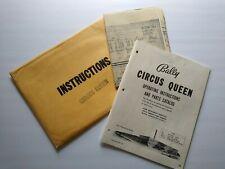 Bally Circus Queen 1960 Original Pinball Machine Bingo Game MANUAL And Schematic