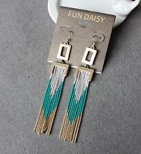 earrings Tassel Thread Silver Metal Green Fine Gold Fringe Art Deco BB 1