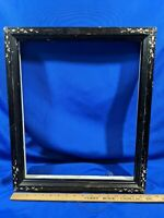 Solid Wood Victorian-Art Deco Shadowbox Picture Frame Black White Inlaid Antique