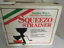 New listing Vintage Garden Way Original All Metal Squeezo Food Strainer Model 09101 w Manual