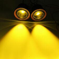"Pair 3.5"" COB Yellow LED Fog Light Projector w/ Amber Angel Eyes Halo DRL Lamp"