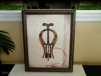 Corkscrew Merlot Wine Art Print Themed Framed Painting On Canvas Wall Decor NOS