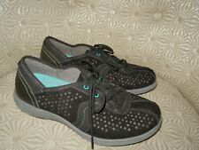 ARAVON Betty Womens Black Perforated Suede Leather Lace Up Comfort Shoe 7D $120