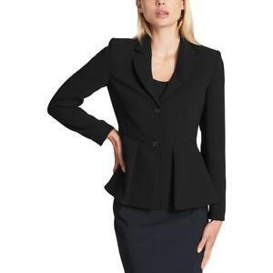 DKNY Womens Black Suit Separate Peplum Jacket Blazer Petites 10P BHFO 9223