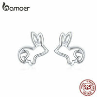 BAMOER Stud Earrings S925 Sterling silver Smooth Hollow Bunny For Women Jewelry
