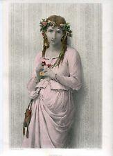«Ophelia» Gravure couleur par C.A. Deblois sobre travaux de J. Bertrand