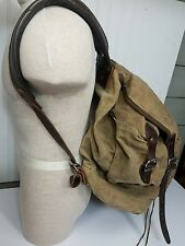 Vintage Large Duluth Pack Oilcloth Leather Backpack Rucksack Hunting Fishing