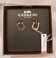 NEW In Box Coach Pave Signature C w/Crystal Huggie ROSE GOLD TONE Earrings 54497