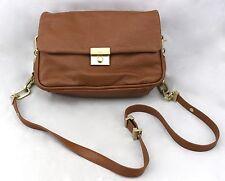 DKNY Donna Karan New York Cognac Brown Tan Leather Small Crossbody Shoulder Bag
