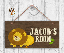Lion Sign, Woodland Personalized Sign, Kid's Name, Kids Door Sign, 5x10 Sign