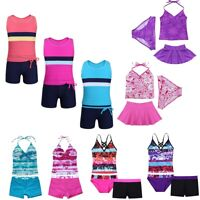 Baby Girls Kids Tankini Set Swimwear Bikini Swimsuit Swimming Costume Age 2-16Y
