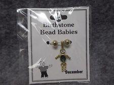 December Baby Birthstone Bead Babies Necklace Pendant Gold Tone & Rhinestone