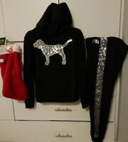Victoria's Secret pink BLk bling Dog Hoodie XS  & Pant outfit M