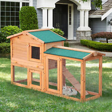 PawHut Wood Rabbit Hutch Pet House Water-Resistant w/Ramp Solid Outdoor Pet Cage