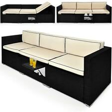 Poly Rattan Sofa Lounger Outdoor Patio Day Bed Black Ottoman Storage Bench
