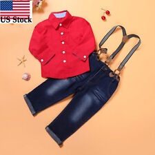 2Pcs Baby Boys Long Sleeve Shirt+Braces Jeans Set Kids Clothes Outfits 7T US
