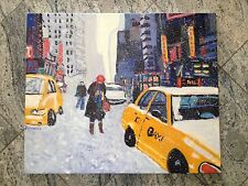 Original Oil Painting New York City Broadway Snow Signed Ferrante