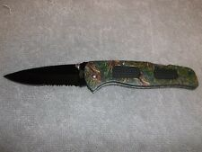 Swamp Camouflage Folding Hunting Knife With Half Serated Blade & Belt Clip