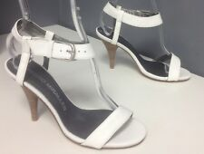 a729e07ce7cb PEDRO MIRALLES White Leather Silver Tone Ankle Buckle Heels Sandals Sz 37  B4745