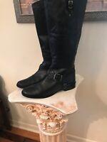 Matisse FLASHBACK Tall Black Leather Riding Boots Wide Calf 11B Back Zipper