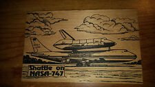 New/used Vandercraft durable wood postcard of the shuttle on NASA's 747
