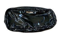 PRADA VERNICE BLACK PATENT COSMETIC POUCH CLUTCH GOLD LOGO NWOT