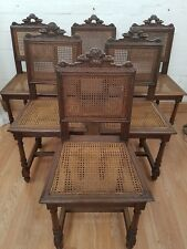 STUNNING SET OF 6 ANTIQUE FRENCH CARVED OAK CHAIRS - C1900