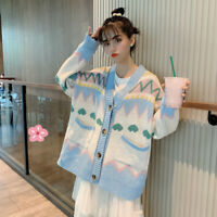 Women Girl Knitted Sweater Cardigan Coat Jacket Cute Kawaii Preppy Loose Winter