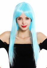 Peluca de Mujer Largo Liso Largo Flequillo con Raya Azul Claro Blue Ice VK-8