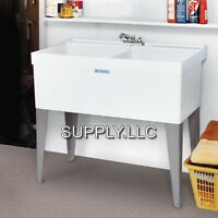 DOUBLE UTILITY SLOP SINK Laundry Tub Floor Standing Wash Room Garage Basement