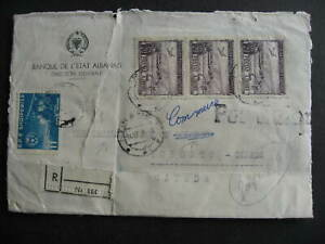 Albania commercial registered cover 1958 to Canada, faulty, opened on 3 sides