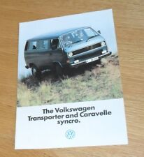 Volkswagen VW Transporter & Caravelle Syncro Brochure 1985-1986 - UK Market