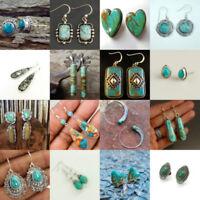 Natural Turquoise Gemstone Sterling Silver Ear Stud Vintage Hook Dangle Earring