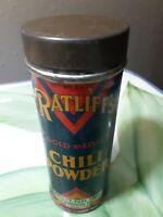 Vintage Ratliffs Chili Powder Tin Ft. Worth Tx1-1/4 oz. Kitchen spice