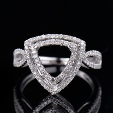 Natural Diamond Semi Mount Ring Prong Setting Trillion Cut 8x8mm 14K White Gold