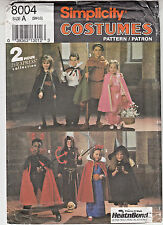 Halloween Costume Witch Marion Robin Hood Simplicity Pattern 8004 Kids S-M-L