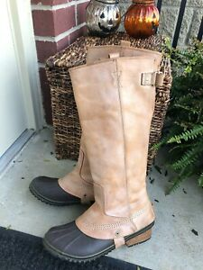 •RARE• STUNNING SOREL ELK SLIMPACK LEATHER Rain/snow RIDING Boot WATERPROOF 9