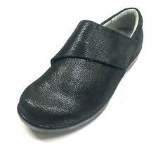 ALEGRIA Leather Shoes 10W / 40W Black Iridescent Hook Loop Closure Nursing Wide