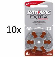 60 Hörgerätebatterien Rayovac Typ 312 Extra Adv., Mercury Free, Neue Verpackung