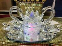Large Decorative Crystal Glass Double Swan with Lotus Ornament NEW_UK