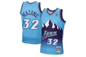 Retro Karl Malone #32 Utah Jazz Basketball Trikots Gold Logo Stitched Weiß