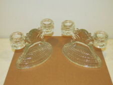 Vintage Pair of Double Candle Holders Teardrop Hobnail Pattern VFC L.E. Smith