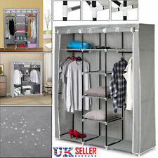 Large Canvas Wardrobe Foldable Clothes Cupboard Storage Organiser Shelving Grey
