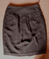 NEW 8 Black chiffon Pencil Stretch Skirt Fully Lined with drape pockets School